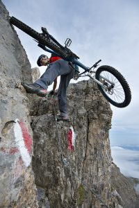 Via Ferrata combines mountain climbing with mountain biking. Photograph by Manfred Stromberg.
