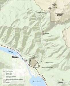 In this map, the proposed tailings facility and mill site can be seen. Map courtesy of Hecla Mining Co.