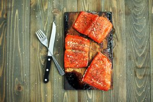 Salmon fillets grilled on Wildwood's grilling planks. Courtesy photo.