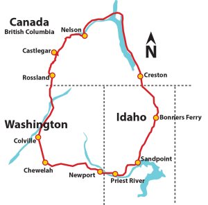 A map of the 370-mile WaCanId Bicycle Ride route traveling through Washington, Canada and Idaho. Map courtesy of wacanid.org.