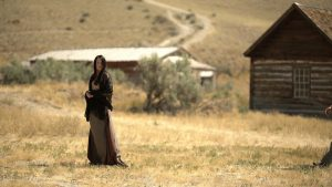 "Sarah Hines on the set of ""Peace Among Black Hills"" in Bannock, Mont. Courtesy photo."