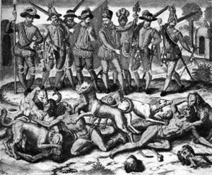 A painting showing Columbus' use of dogs to hunt down indigenous peoples.