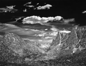 Clouds, Mitchell Peak and the Cirque of the Towers Popo Agie Wilderness, Wyoming, 1987. Silver Gelatin Photo by Charles Phillips.