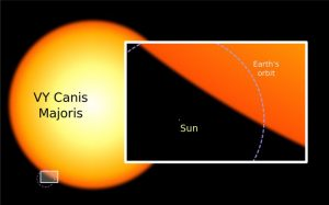 A size comparison between VY Canis Majoris and our sun. Yeah, that little tiny dot is the sun (with the Earth's orbit outlined in dotted line. Courtesy photo.