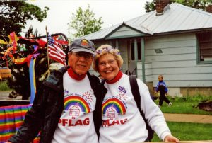 Barbara and her late husband Jim Hansen during a Sandpoint PFLAG event in the late 1990s. Courtesy photo.