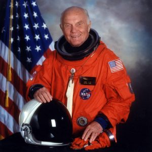 Color formal portrait of John Glenn in his spacesuit as a crew member on the Space Shuttle Discovery mission STS-95, 1998. Courtesy NASA.