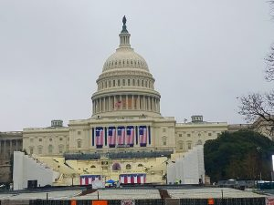 The U.S. Capitol prepares for the inauguration of the 45th president. Photo by Cameron Rasmusson.