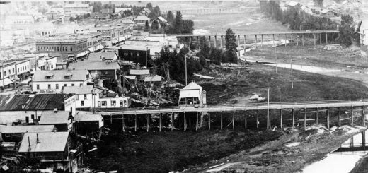 An aerial view of Sandpoint, circa 1905. The cribs began popping up on the left, or west side of Sand Creek. Photo courtesy of Bonner County Historical Society.