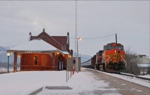 An oil train passes by Sandpoint's Amtrak Train Depot. Photo by Marlin Thorman.