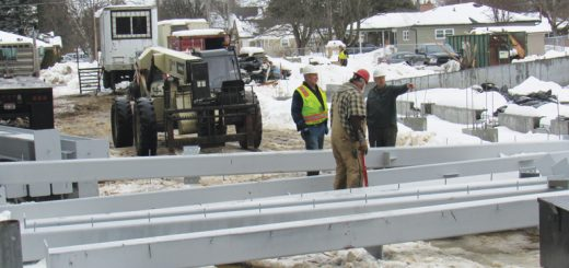 Steel is delivered at the Memorial Field job site on Monday. Photo by Cort Gifford.