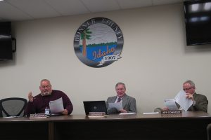 Bonner County Commissioners Dan McDonald, left, Glen Bailey, center, and Jeff Connolly, right. Photo by Ben Olson.