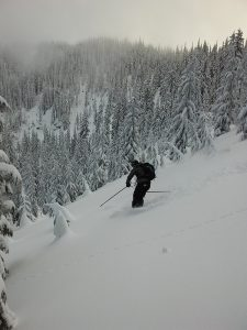 One of the many delicious tree runs above Elsie Lake. Photo by Melissa Hendrickson.