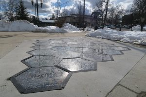 The newly installed Solar Roadways demonstration panel at Jeff Jones Town Square in Sandpoint. Photo by Ben Olson.