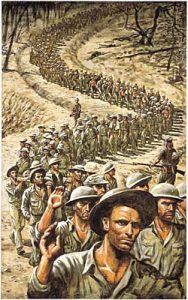 An artistic depiction of the Bataan Death March. Illustration by David K. Stone.