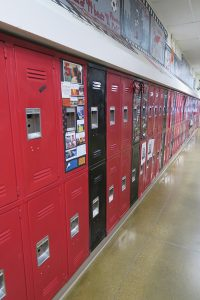 Lockers at Sandpoint High School. Photo by Ben Olson.