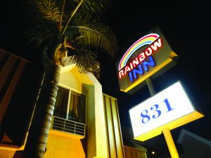The Rainbow Inn is just one of many budget motels dotted around urban California.