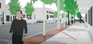 This rendering gives an idea of the street view along the re-designed Cedar Street. Courtesy Century West Engineering.