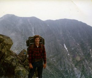 A young Phil Hough backpacking Mount Katahdin, the northern terminus of the Appalachian Trail, and highest peak in Maine.