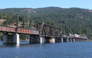 A train passes over Lake Pend Oreille. Courtesy photo.