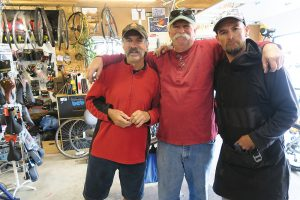 Bonner County Bicycles co-owners Dave Reisenauer, left, Dan Shook, center, and Tim Piehl, right. Photo by Ben Olson.