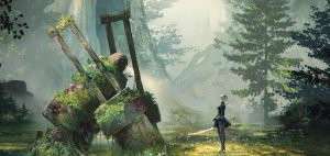 """""""NieR: Automata"""" portrays a machine-ruled world slowly being reclaimed by nature. Image courtesy Square Enix."""