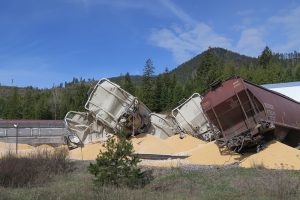 A train derailed Monday morning south of Cocolalla Lake. Photo by Ben Olson.