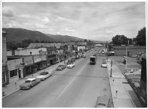 Looking south down First Ave. in Sandpoint, circa 1957. Photograph by William Lutzke and courtesy of Bonner County Historical Society.