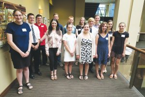 Scholarship recipients gather at Columbia Bank Wednesday. In no particular order, the following students received CAL Scholarships: Gabriel Burns, Hannah Fingel, Caden Gatlin, Abigail Kassa, Khloe Kyllonen, Cheyenne Nicholson, Mackenzie Packer, Nichol Reed, Mitchell Rust, Delaney Search, Lauren Sfeir, Erik Suhr, Reilly Wolfe, Winona Young, Hailley Shropshire, Anthony Storro, Sarah Wells Justin Marks, Elizabeth Kovalchuk, and Tanner Mendenhall. Photo by Ben Olson.