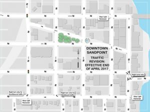 A map of the new traffic configuration in downtown Sandpoint.