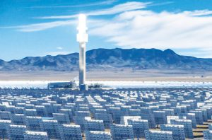Crescent Dunes Solar Thermal plant with collector tower.